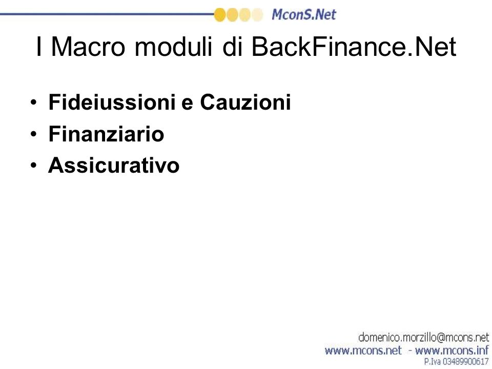 I Macro moduli di BackFinance.Net