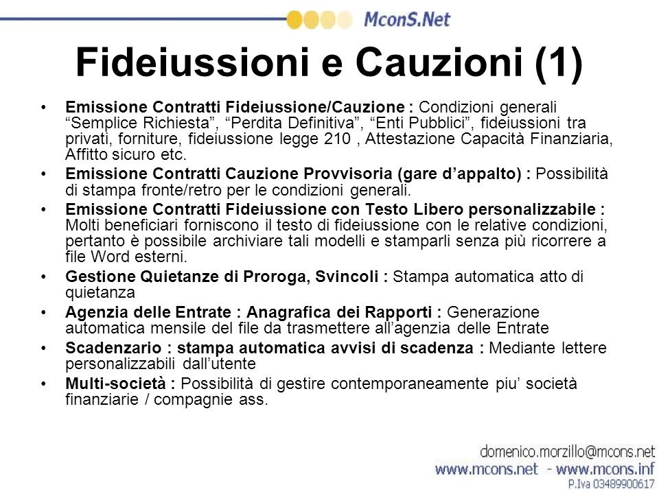 Fideiussioni e Cauzioni (1)