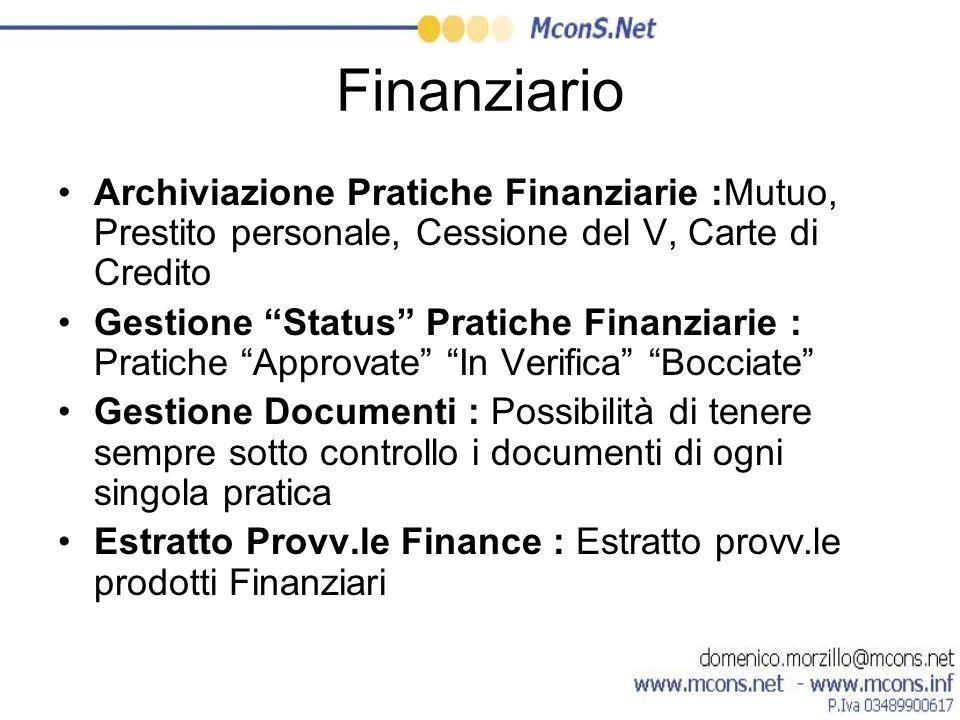 FinanziarioArchiviazione Pratiche Finanziarie :Mutuo, Prestito personale, Cessione del V, Carte di Credito.