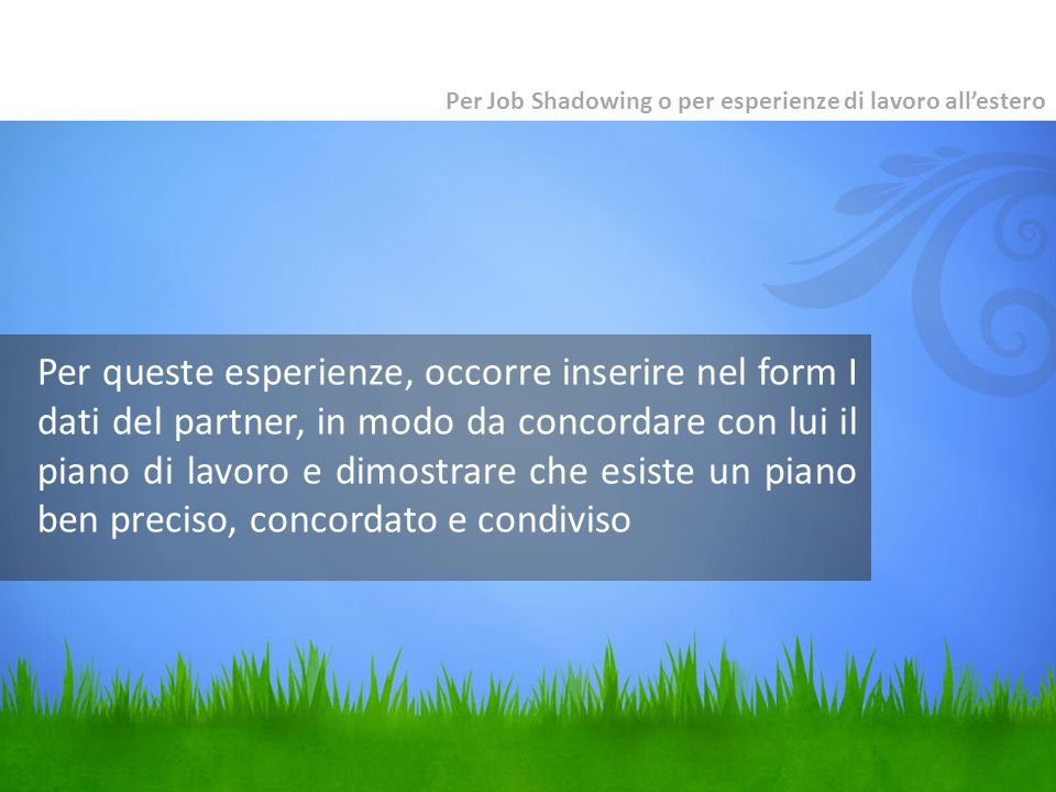 Per Job Shadowing o per esperienze di lavoro all'estero