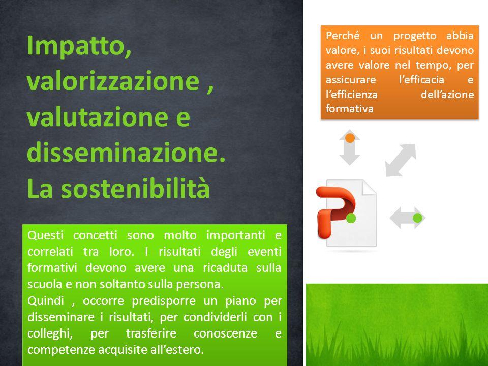 Impatto, valorizzazione , valutazione e disseminazione.