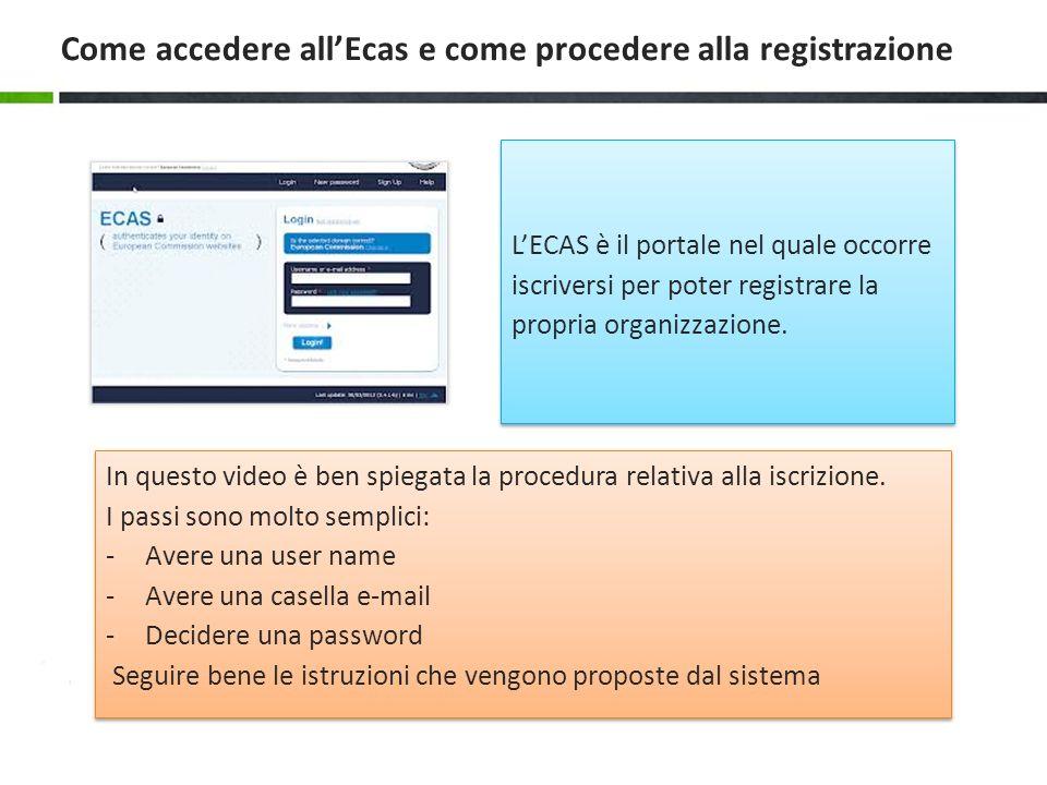 Come accedere all'Ecas e come procedere alla registrazione
