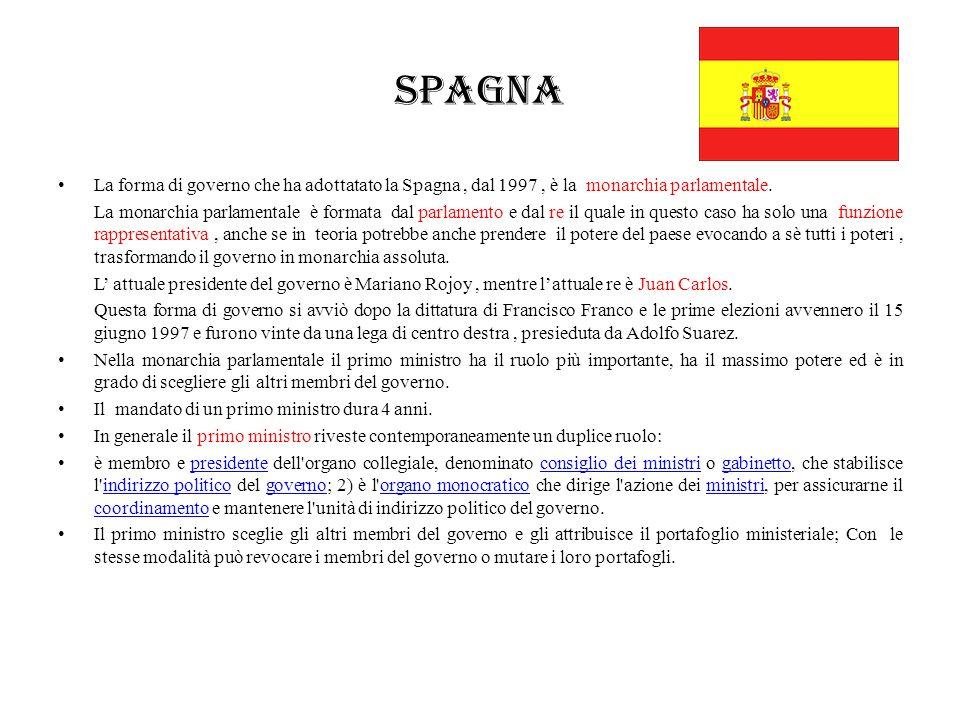 Spagna La forma di governo che ha adottatato la Spagna , dal 1997 , è la monarchia parlamentale.