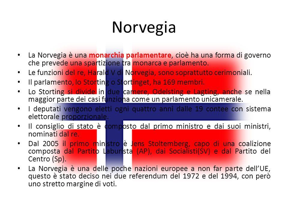 Norvegia La Norvegia è una monarchia parlamentare, cioè ha una forma di governo che prevede una spartizione tra monarca e parlamento.