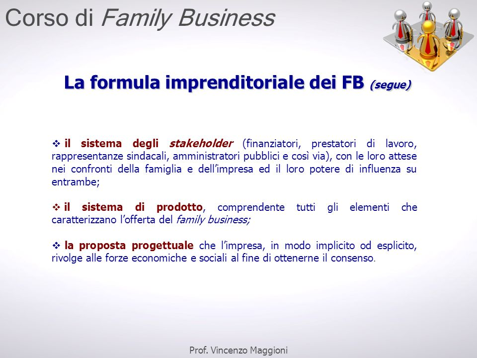 La formula imprenditoriale dei FB (segue)