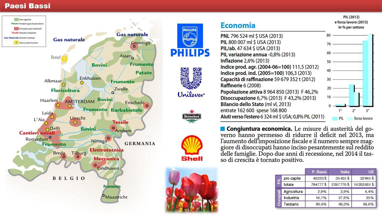 In Olanda numerose sono le multinazionali, aziende cioè che posseggono impianti in tutto il mondo; è il caso della Shell, industria petrolchimica, della Philips, nel settore