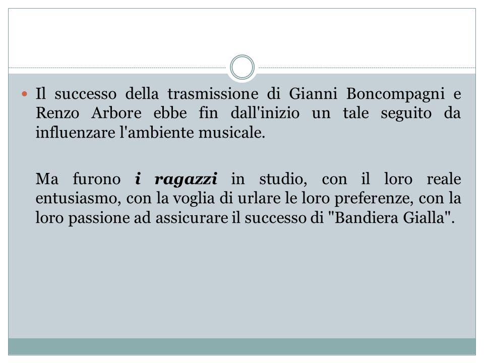 Il successo della trasmissione di Gianni Boncompagni e Renzo Arbore ebbe fin dall inizio un tale seguito da influenzare l ambiente musicale.
