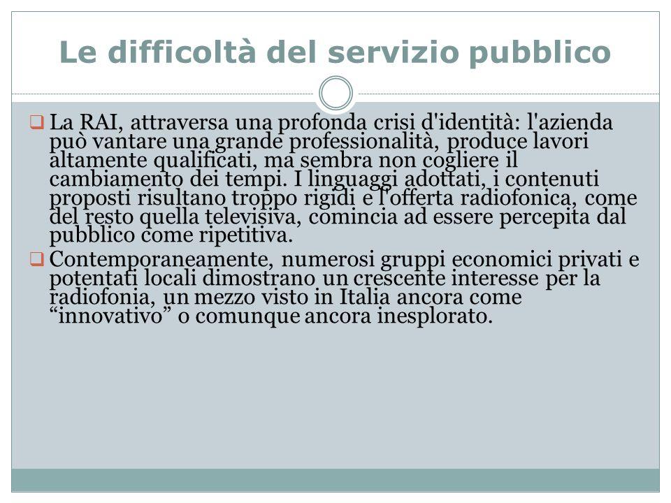 Le difficoltà del servizio pubblico