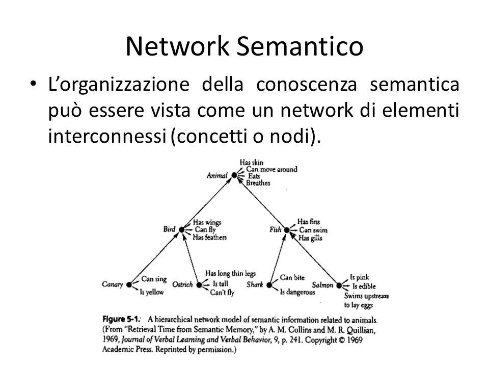 Network Semantico L'organizzazione della conoscenza semantica può essere vista come un network di elementi interconnessi (concetti o nodi).