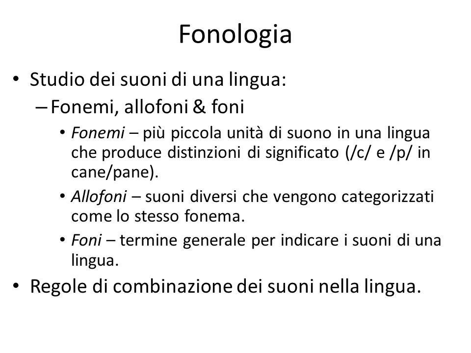Fonologia Studio dei suoni di una lingua: Fonemi, allofoni & foni