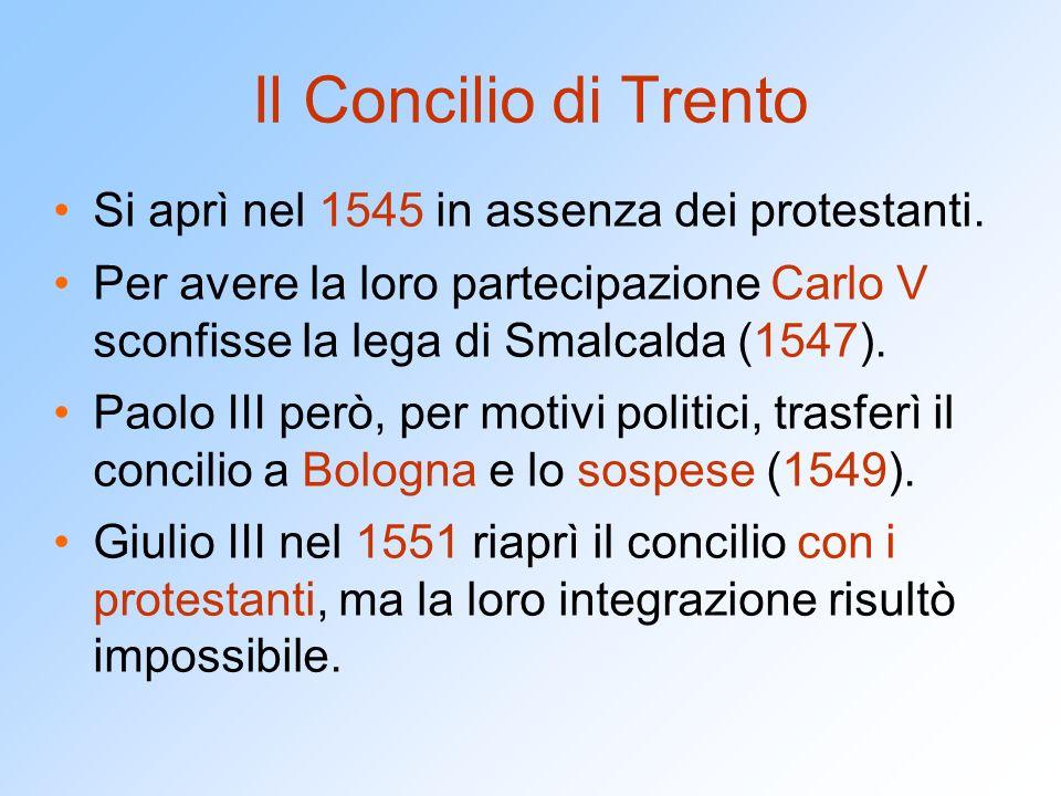 Il Concilio di Trento Si aprì nel 1545 in assenza dei protestanti.