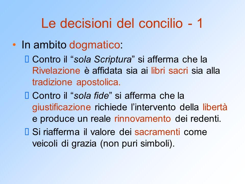Le decisioni del concilio - 1