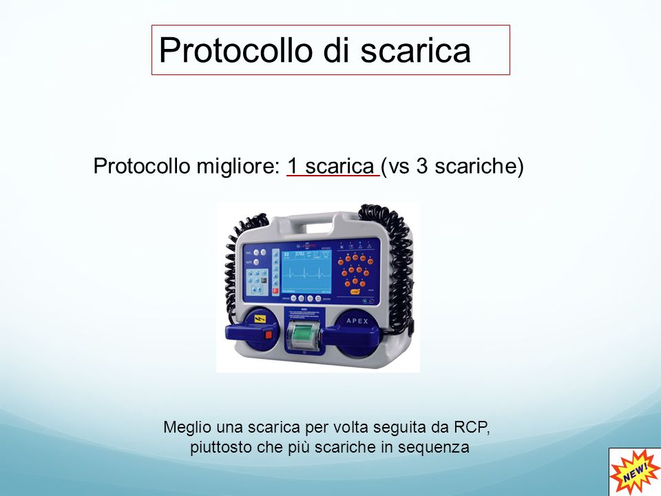 Protocollo di scarica Protocollo migliore: 1 scarica (vs 3 scariche)