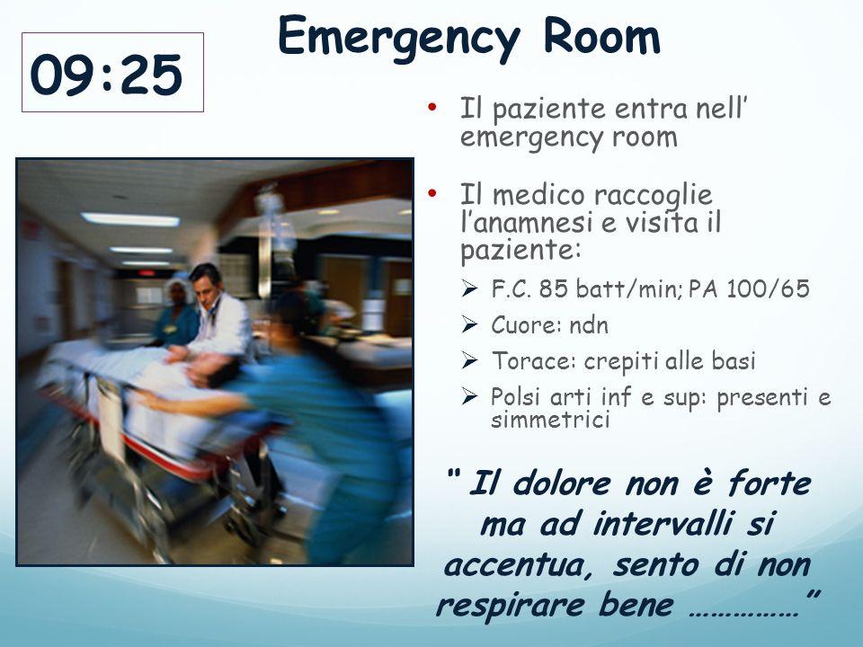 Emergency Room 09:25. Il paziente entra nell' emergency room. Il medico raccoglie l'anamnesi e visita il paziente: