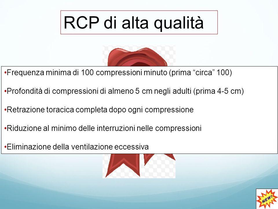 RCP di alta qualità Frequenza minima di 100 compressioni minuto (prima circa 100)