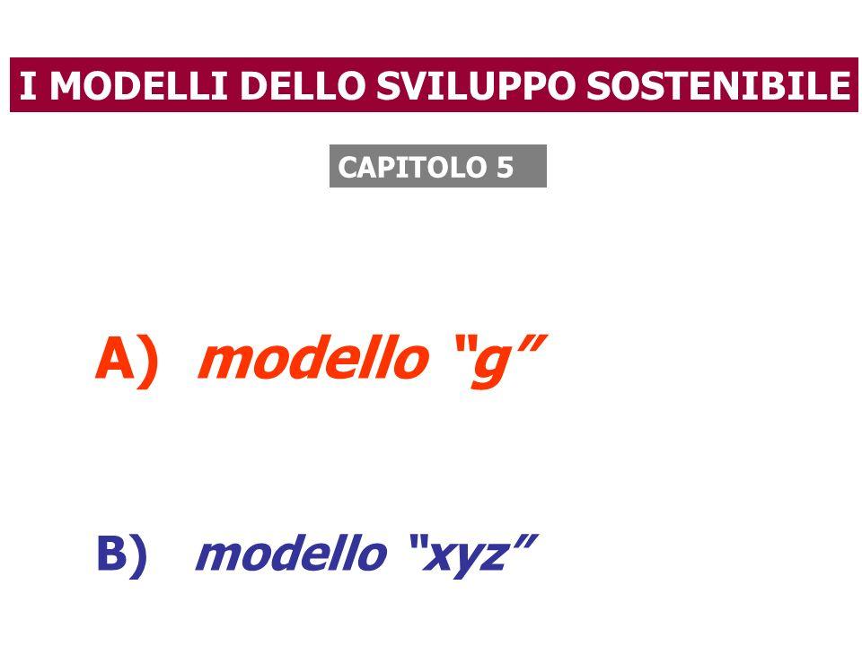 A) modello g B) modello xyz I MODELLI DELLO SVILUPPO SOSTENIBILE