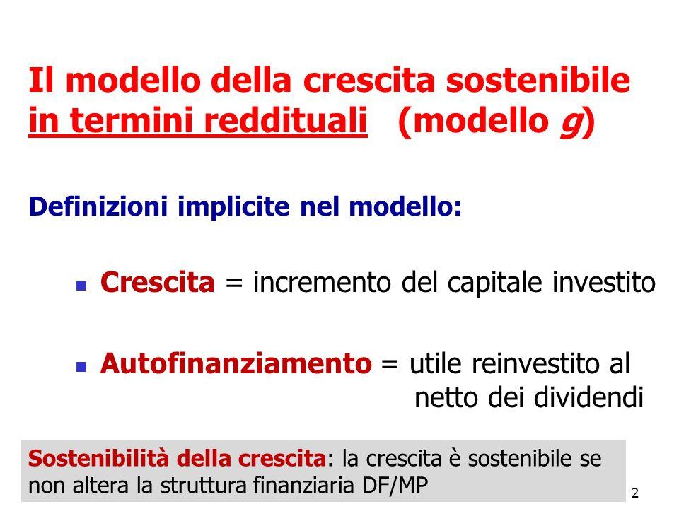 Il modello della crescita sostenibile in termini reddituali (modello g) Definizioni implicite nel modello:
