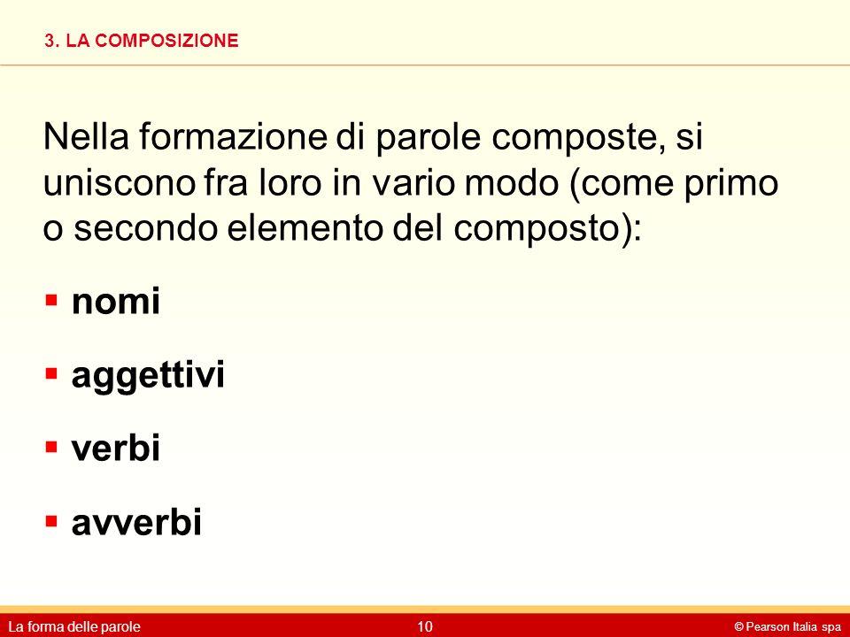 Nella formazione di parole composte, si uniscono fra loro in vario modo (come primo o secondo elemento del composto):