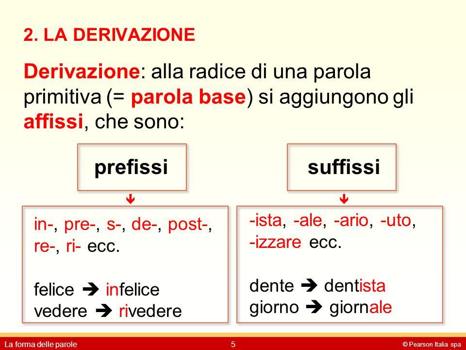 2. LA DERIVAZIONE Derivazione: alla radice di una parola primitiva (= parola base) si aggiungono gli affissi, che sono: