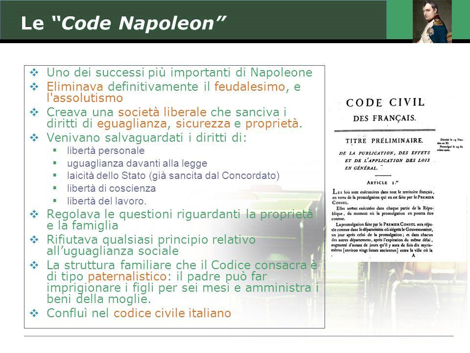 Le Code Napoleon Uno dei successi più importanti di Napoleone