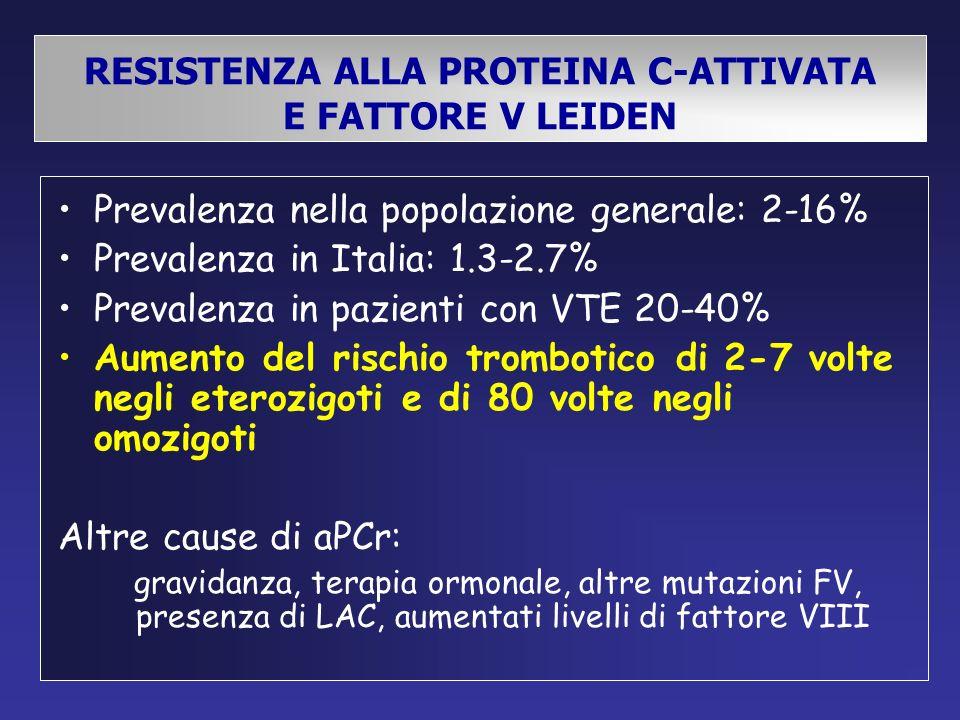 RESISTENZA ALLA PROTEINA C-ATTIVATA E FATTORE V LEIDEN