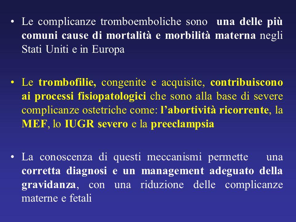 Le complicanze tromboemboliche sono una delle più comuni cause di mortalità e morbilità materna negli Stati Uniti e in Europa