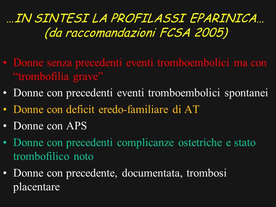 …IN SINTESI LA PROFILASSI EPARINICA… (da raccomandazioni FCSA 2005)