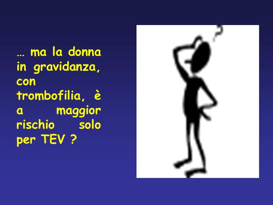 … ma la donna in gravidanza, con trombofilia, è a maggior rischio solo per TEV