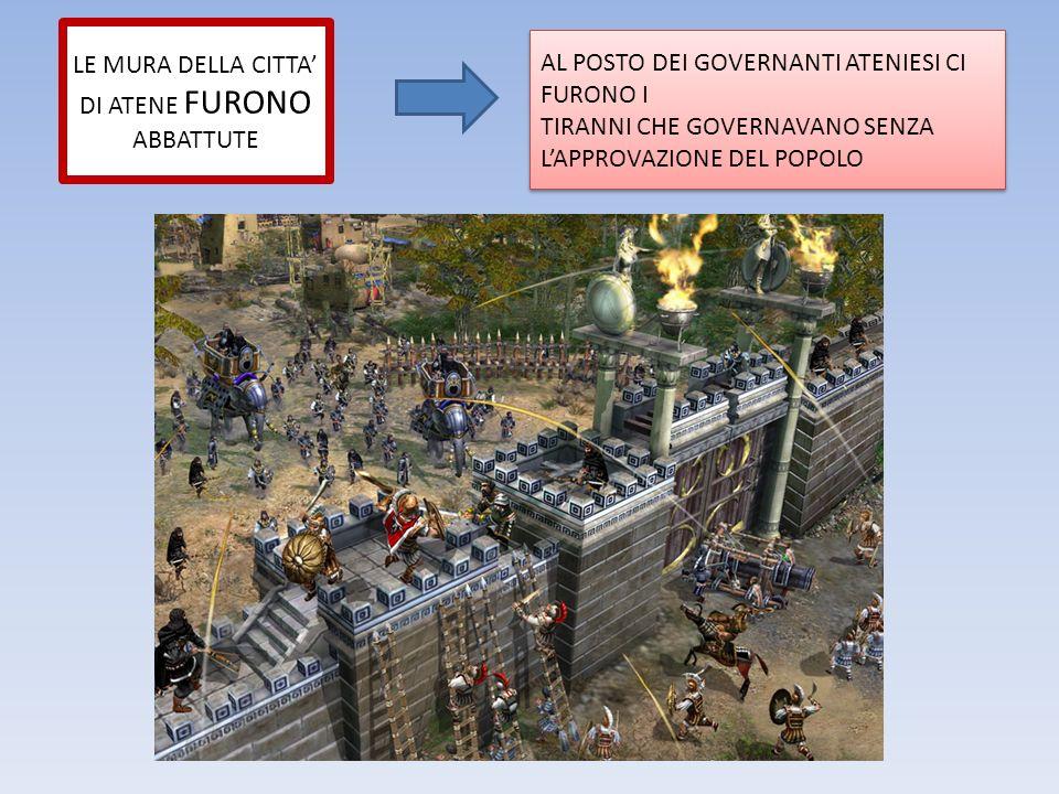 LE MURA DELLA CITTA' DI ATENE FURONO ABBATTUTE