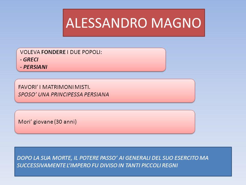ALESSANDRO MAGNO VOLEVA FONDERE I DUE POPOLI: GRECI - PERSIANI