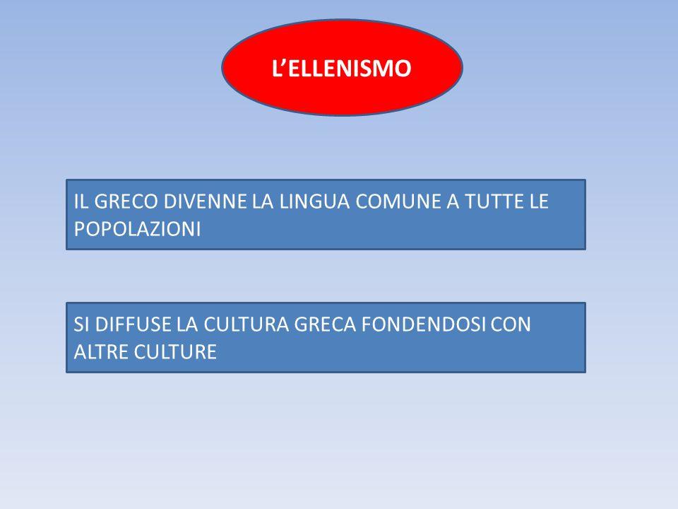 L'ELLENISMO IL GRECO DIVENNE LA LINGUA COMUNE A TUTTE LE POPOLAZIONI