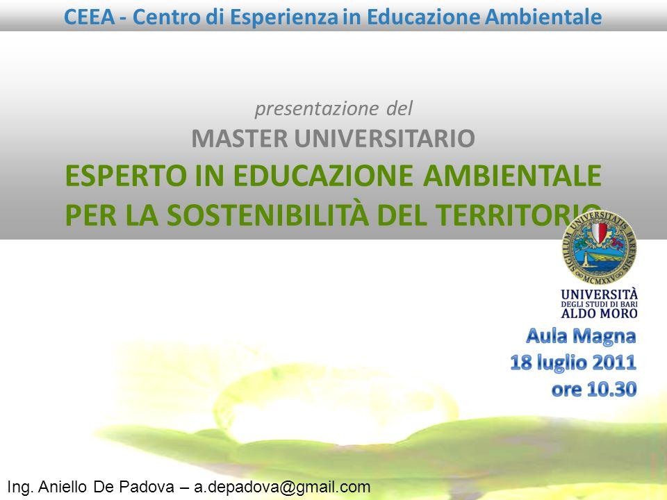 presentazione del MASTER UNIVERSITARIO ESPERTO IN EDUCAZIONE AMBIENTALE PER LA SOSTENIBILITÀ DEL TERRITORIO