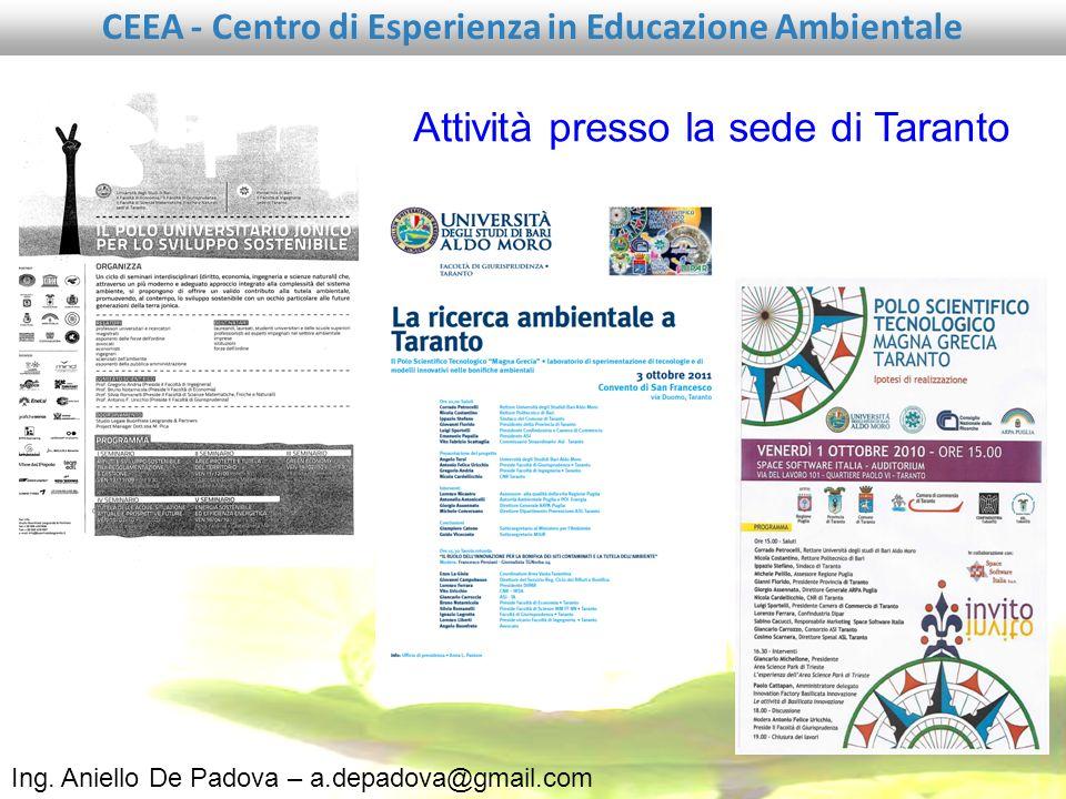Attività presso la sede di Taranto