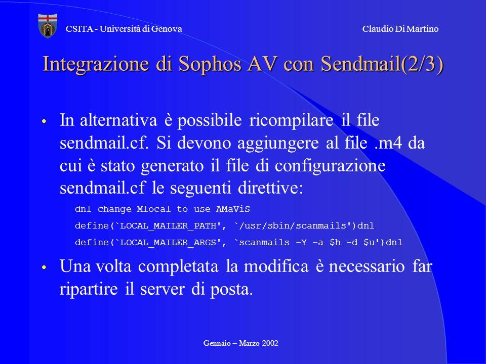 Integrazione di Sophos AV con Sendmail(2/3)