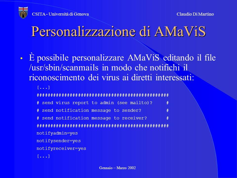 Personalizzazione di AMaViS