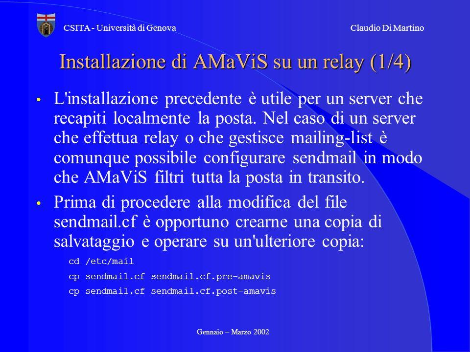 Installazione di AMaViS su un relay (1/4)