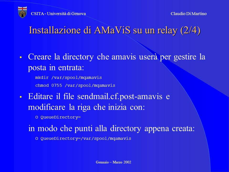 Installazione di AMaViS su un relay (2/4)