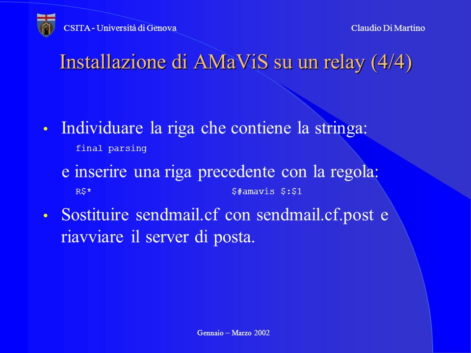 Installazione di AMaViS su un relay (4/4)