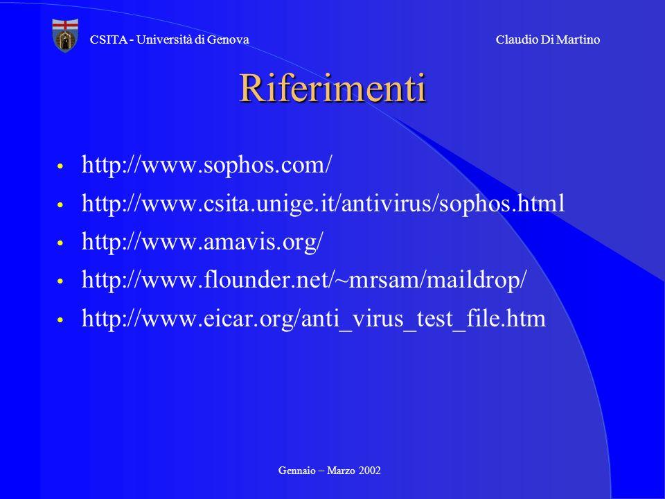 Riferimenti http://www.sophos.com/