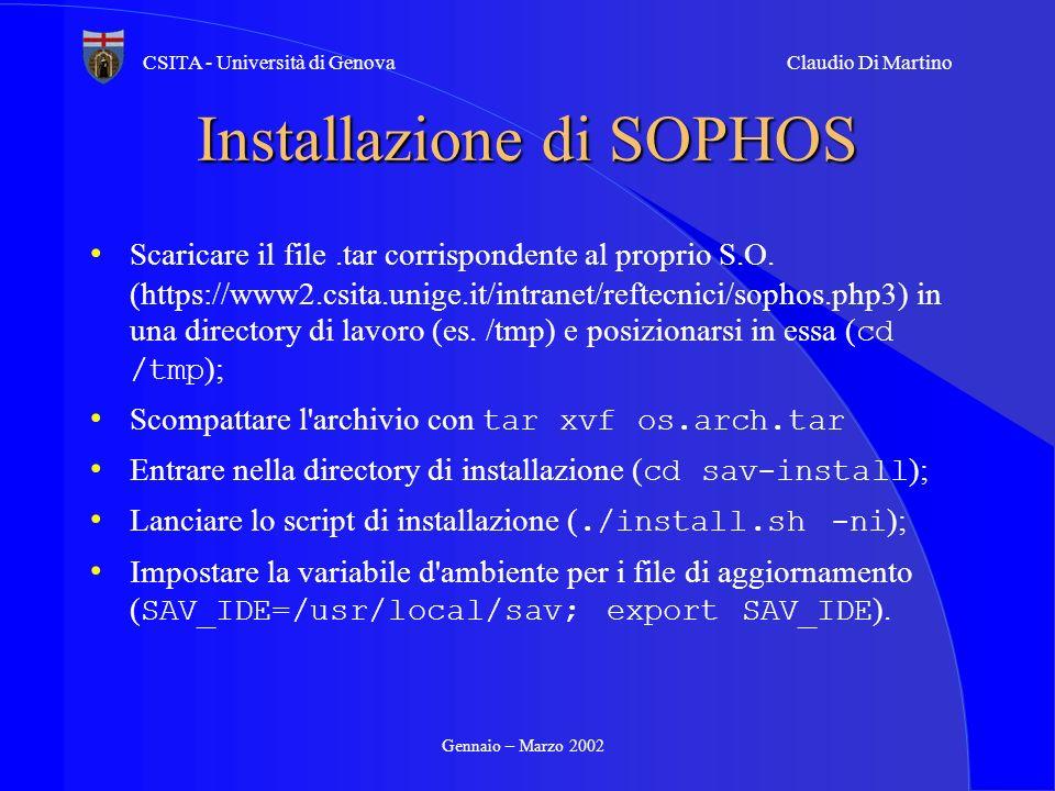 Installazione di SOPHOS