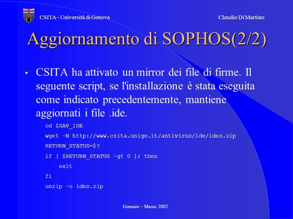 Aggiornamento di SOPHOS(2/2)