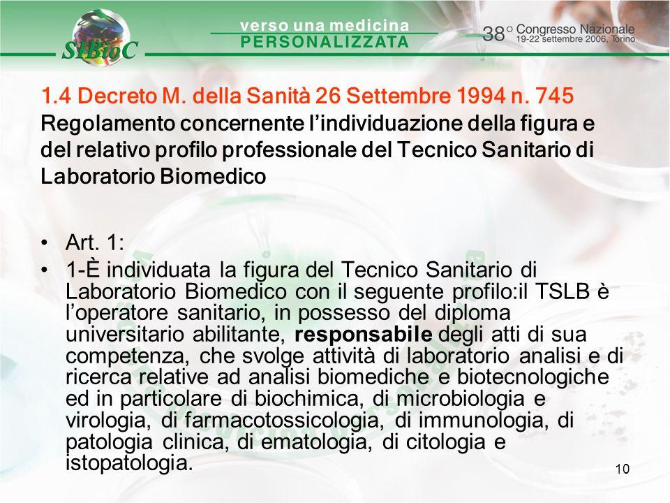1. 4 Decreto M. della Sanità 26 Settembre 1994 n