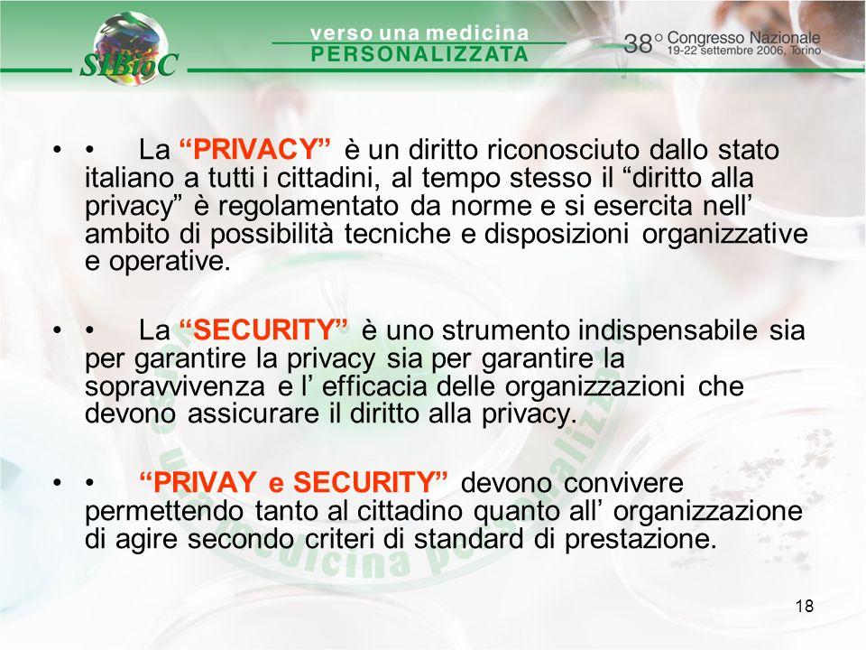 • La PRIVACY è un diritto riconosciuto dallo stato italiano a tutti i cittadini, al tempo stesso il diritto alla privacy è regolamentato da norme e si esercita nell' ambito di possibilità tecniche e disposizioni organizzative e operative.
