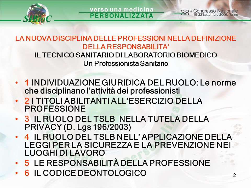 2 I TITOLI ABILITANTI ALL'ESERCIZIO DELLA PROFESSIONE
