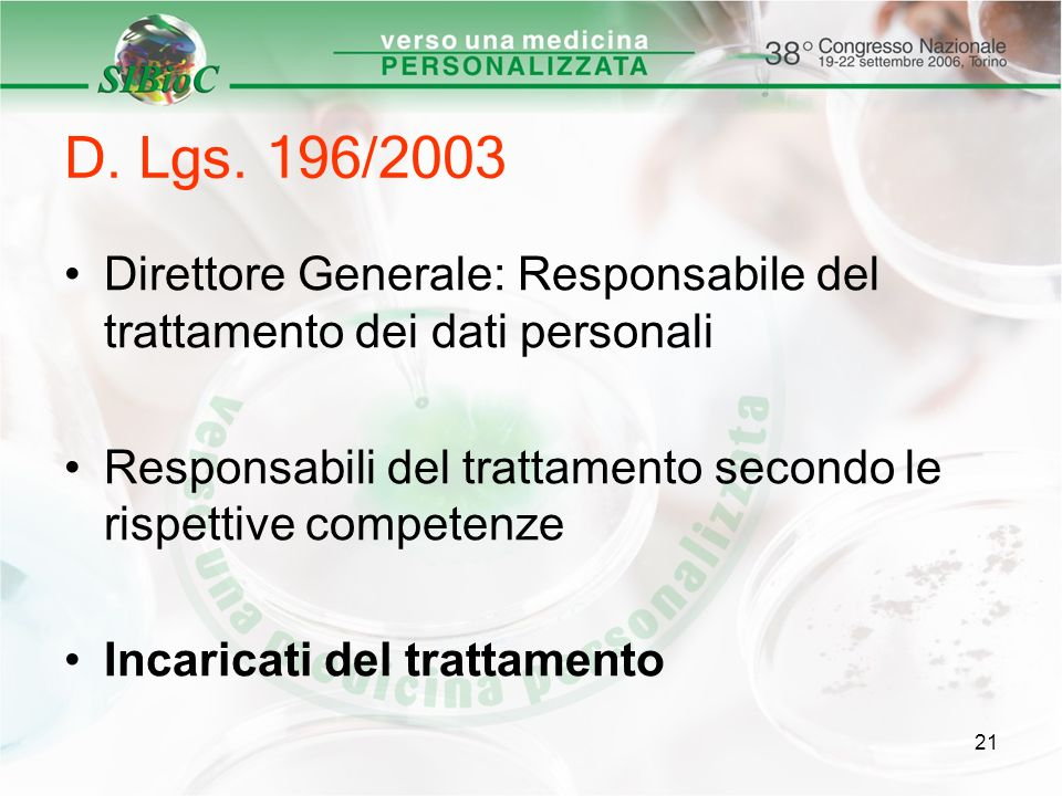 D. Lgs. 196/2003 Direttore Generale: Responsabile del trattamento dei dati personali. Responsabili del trattamento secondo le rispettive competenze.