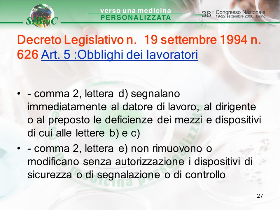 Decreto Legislativo n. 19 settembre 1994 n. 626 Art