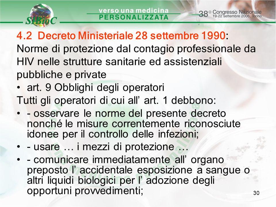 4.2 Decreto Ministeriale 28 settembre 1990: Norme di protezione dal contagio professionale da HIV nelle strutture sanitarie ed assistenziali pubbliche e private