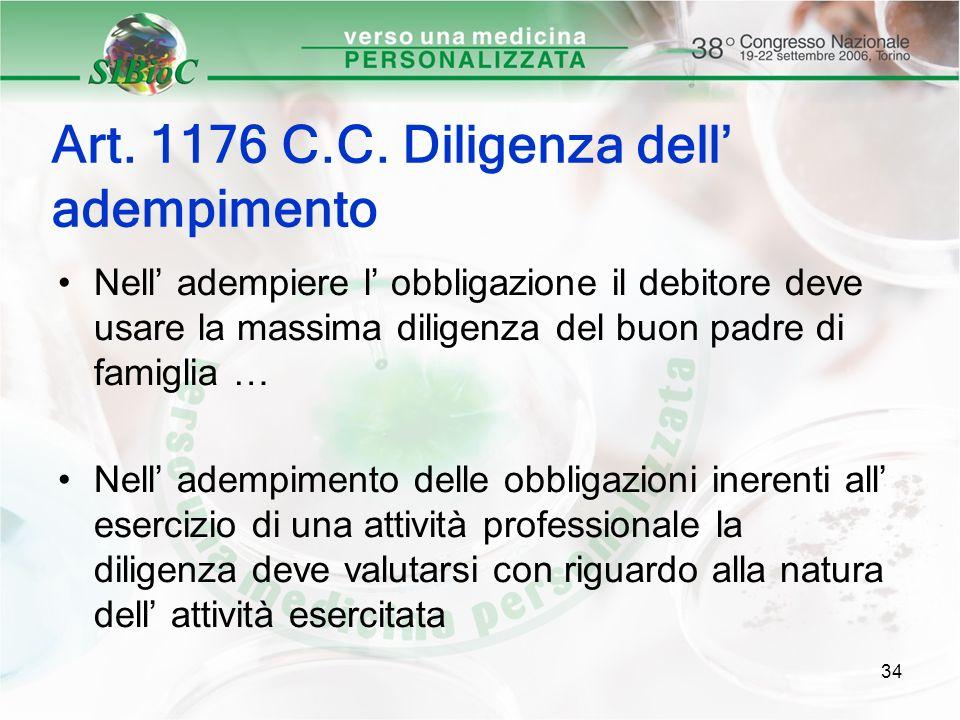 Art. 1176 C.C. Diligenza dell' adempimento