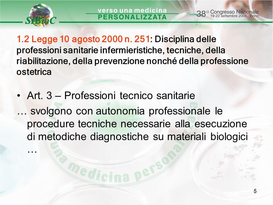 Art. 3 – Professioni tecnico sanitarie