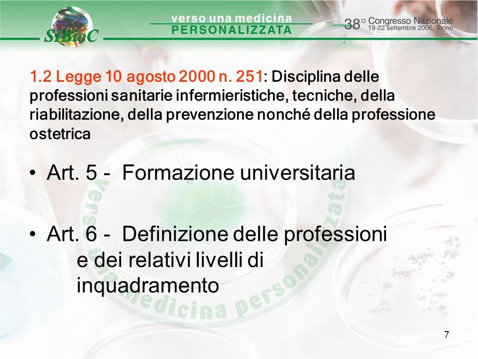 Art. 5 - Formazione universitaria